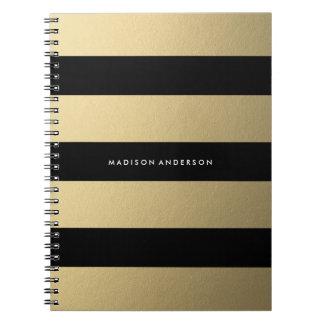 Guld görade randig den | anteckningsboken spiral anteckningsbok
