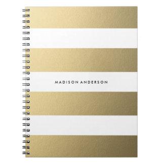 Guld görade randig den | anteckningsboken spiralbundna anteckningsböcker