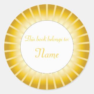 Guld- gräns - bokägarmärke runt klistermärke
