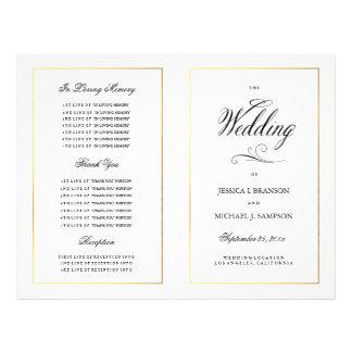 Guld- gräns för elegant Calligraphybröllopsprogram Reklamblad