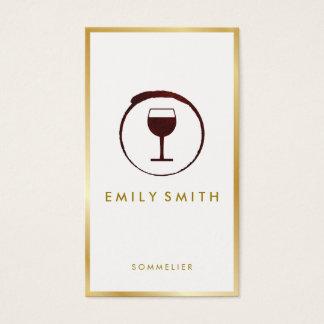 Guld- gräns för elegant för rött vinfläckvin Faux Visitkort