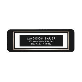 Guld- gräns för modern svart vit returadress etikett