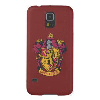 Guld- Gryffindor vapensköld som är röd och Galaxy S5 Fodral