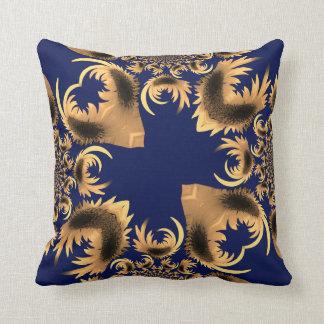 Guld- gul blom- motivabstrakt på kungliga blått kudde