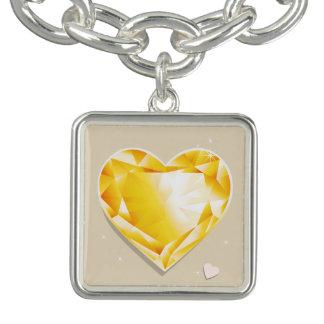 Guld- gul hjärta för Birthstones November Citrine Armband