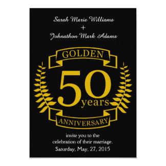 GULD- guld- 50 år bröllopsdag alla 50 12,7 X 17,8 Cm Inbjudningskort