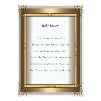 Guld- guld för rambaby showerparty 12,7 x 17,8 cm inbjudningskort