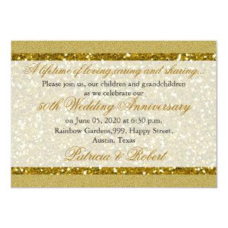 Guld- guldbröllopårsdag för glitter 50th 12,7 x 17,8 cm inbjudningskort