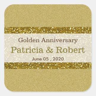 Guld- guldbröllopårsdag för glitter 50th fyrkantigt klistermärke