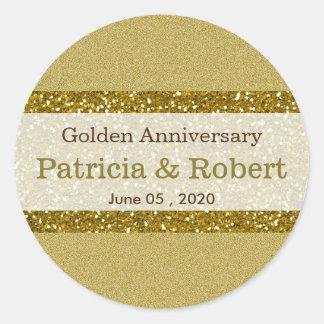 Guld- guldbröllopårsdag för glitter 50th runt klistermärke