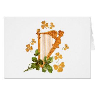 Guld- harpa och Shamrocks av Irland Hälsningskort