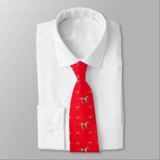 Guld- hästar på röda manar slips