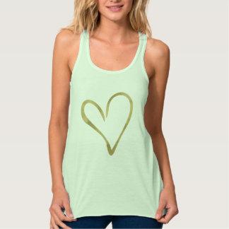 Guld- hjärta linne med racerback