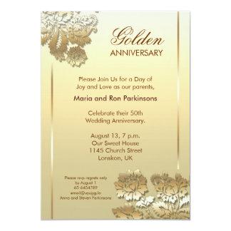 guld- inbjudan för årsdag 50