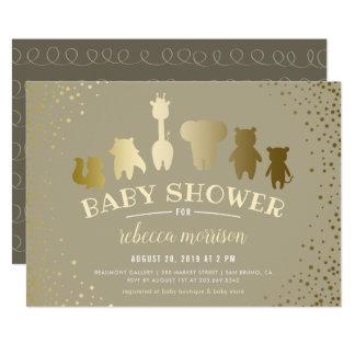 Guld- inbjudan för baby shower för SafariZoodjur