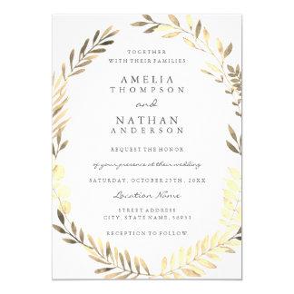 Guld- inbjudan för bröllop för lövkranträdgård