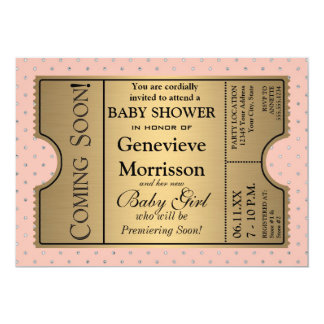 Guld- inbjudan för party för dusch för