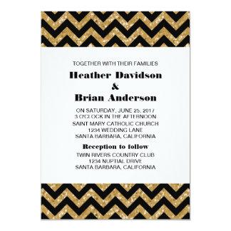 Guld- inbjudan för sparreglitterbröllop