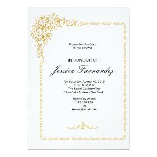 Guld- inbjudningskort för möhippanblått & rosor