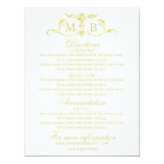 Guld- informationskort om bröllop som gifta sig 10,8 x 14 cm inbjudningskort