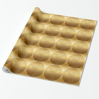 Guld- internationell jul som slår in papper presentpapper