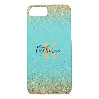 Guld- iPhone för glitterLookturkos 7/8 fodral