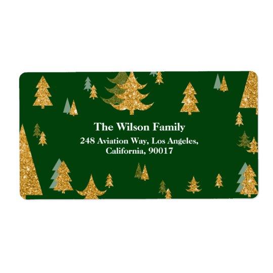 Guld- julgranadressetikett fraktsedel
