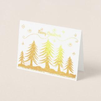 Guld- julgranar folierat kort
