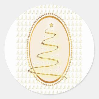 Guld- julgranklistermärke runt klistermärke