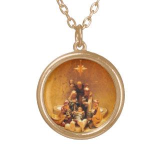 Guld- julkrubbahalsband guldpläterat halsband