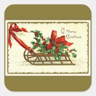 Guld- julSleigh för vintage Fyrkantigt Klistermärke