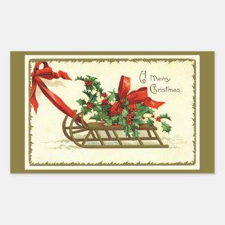Guld- julSleigh för vintage Rektangulärt Klistermärke