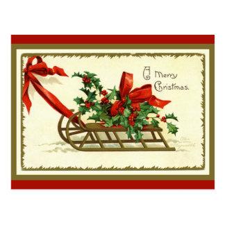 Guld- julSleigh för vintage Vykort