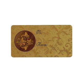 Guld- julstjärnahelgdag Lables eller Adressetikett