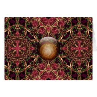Guld- juvel mot den röda Tapestrydesignen, Hälsningskort
