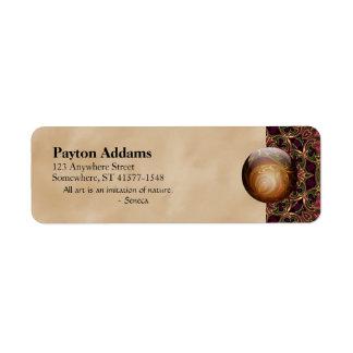 Guld- juvel mot den röda Tapestrydesignen, Returadress Etikett