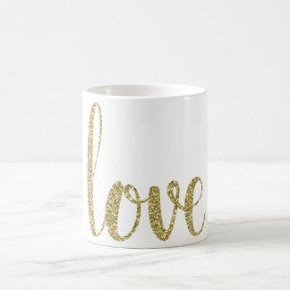 Guld- kärlekkaffemugg, glitter kaffemugg