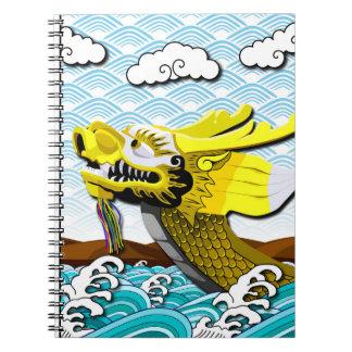 Guld- kinesisk drake - fotoanteckningsbok anteckningsbok