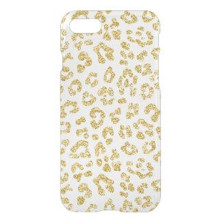 Guld- klar glitterLeopard iPhone 7 Skal