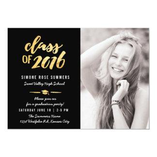 Guld klassificerar av fotostudentkort 2016 12,7 x 17,8 cm inbjudningskort