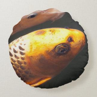 Guld- Koi fisk Rund Kudde