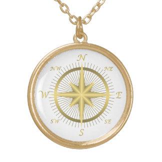 Guld- kompass guldpläterat halsband