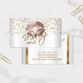 Guld- konfettiar för Makeupkonstnär & rosa läppar Visitkort