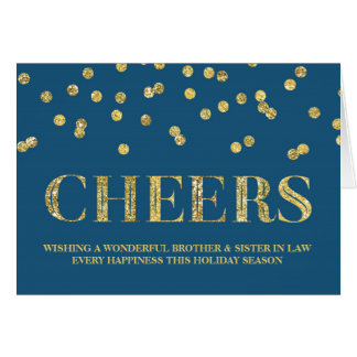 Guld- konfettijul broder & syster i lag hälsningskort