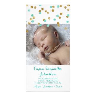 Guld- kort för foto för blåtttackbaby shower