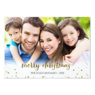 Guld- kort för foto för glitterkonfettigod jul 12,7 x 17,8 cm inbjudningskort