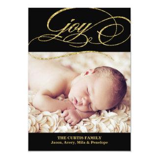 Guld- kort för helgdag för glitterSwirly glädje | 12,7 X 17,8 Cm Inbjudningskort