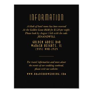 Guld- kort för information om art décofläktbröllop 10,8 x 14 cm inbjudningskort