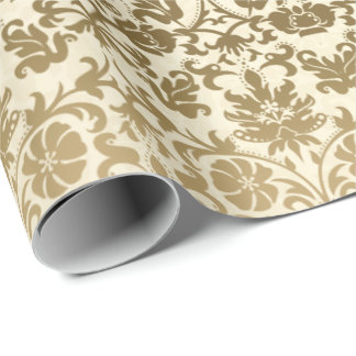 Guld- kräm- blom- damast presentpapper