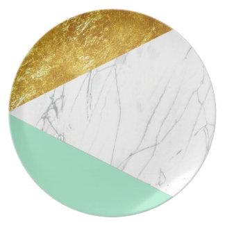 Guld- krickamarmor för vit tallrik